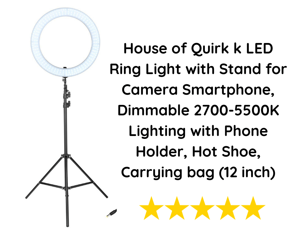 House of Quirk k LED Ring Light with Stand for Camera Smartphone, Dimmable 2700-5500K Lighting with Phone Holder, Hot Shoe, Carrying bag (12 inch)