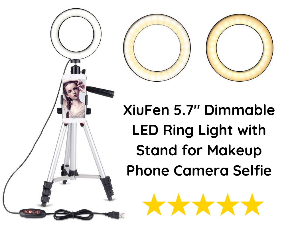 "XiuFen 5.7"" Dimmable LED Ring Light with Stand for Makeup Phone Camera Selfie"