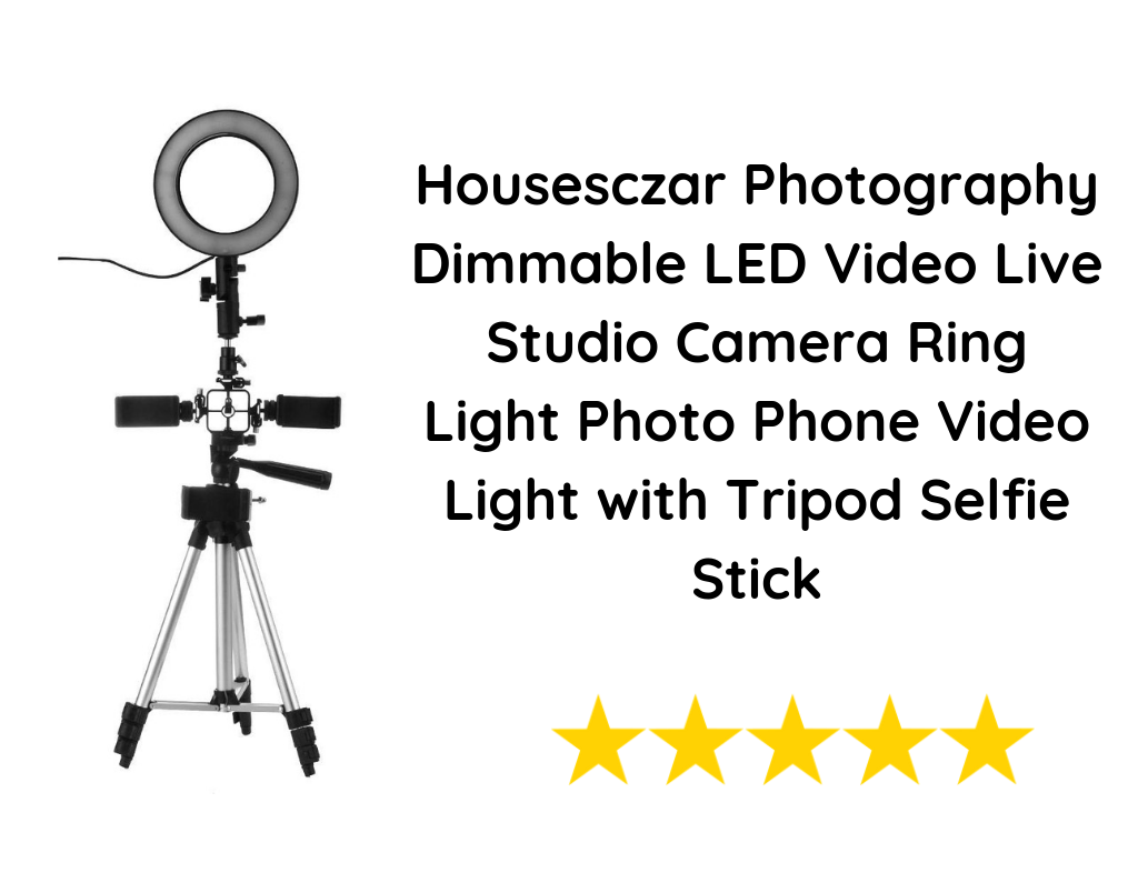Housesczar Photography Dimmable LED Video Live Studio Camera Ring Light Photo Phone Video Light with Tripod Selfie Stick