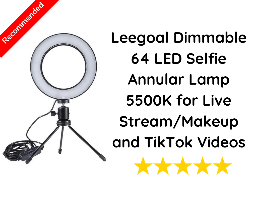 Leegoal Dimmable 64 LED Selfie Annular Lamp 5500K for Live Stream/Makeup and TikTok Videos