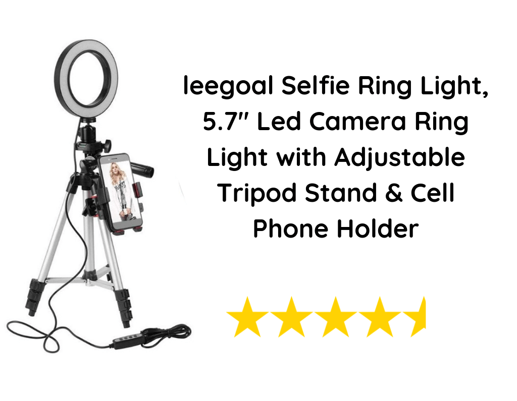 "leegoal Selfie Ring Light, 5.7"" Led Camera Ring Light with Adjustable Tripod Stand & Cell Phone Holder"